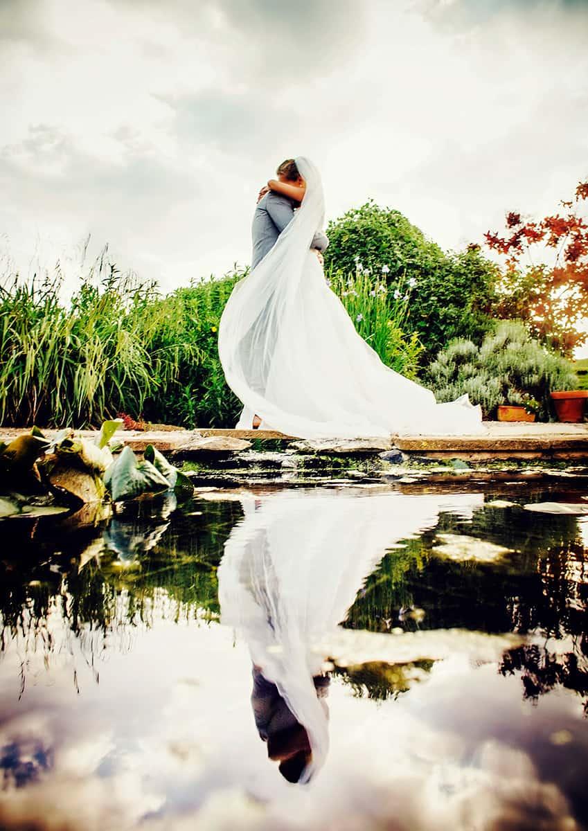 bride & groom reflection portrait