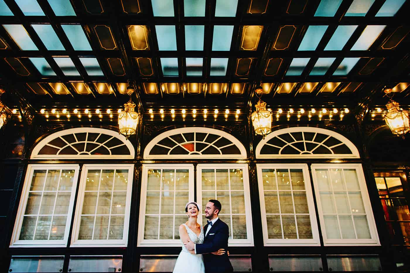 A wedding photograph taken in front of the Ritz Carlton in Montreal