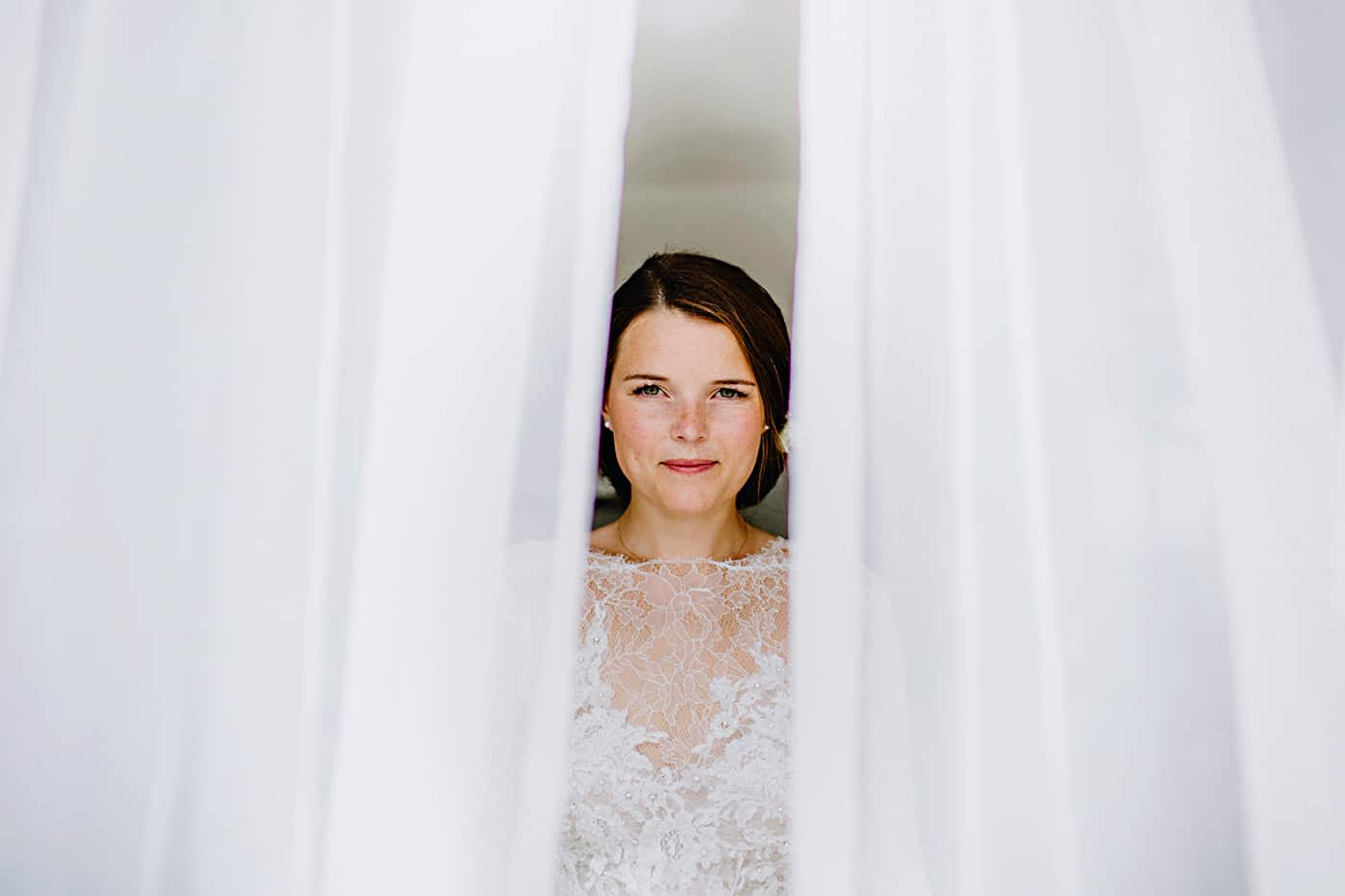 Bride portrait curtains