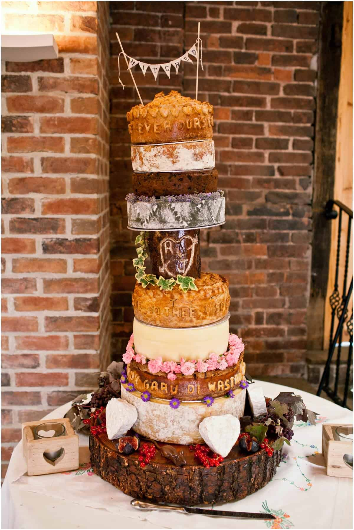 wedding cake with pork pie layer