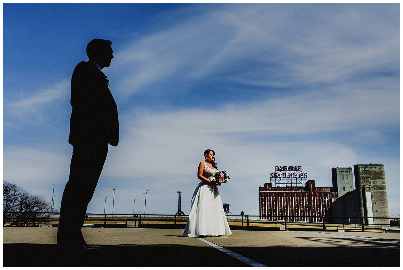 montreal skyline wedding photo