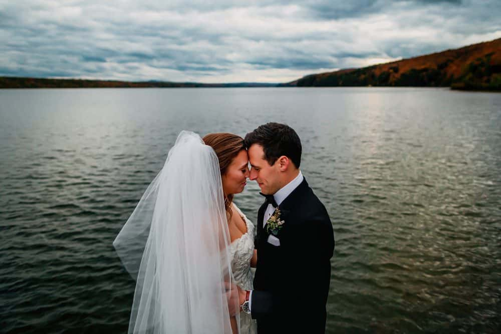 Wedding photo of bride and groom at Manoir Hovey in Quebec