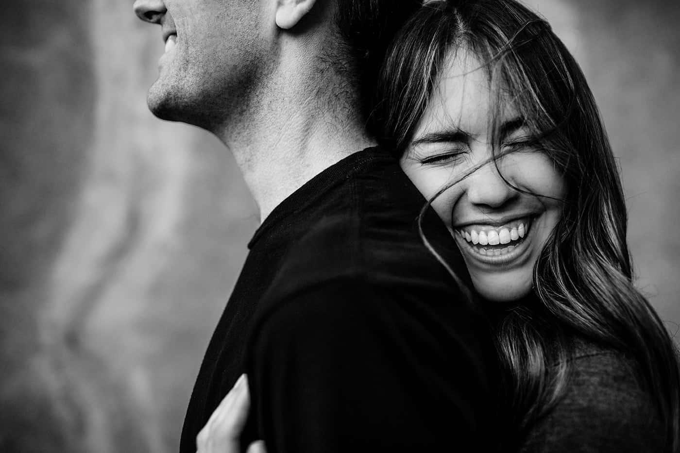 Couple portrait in close up black & white