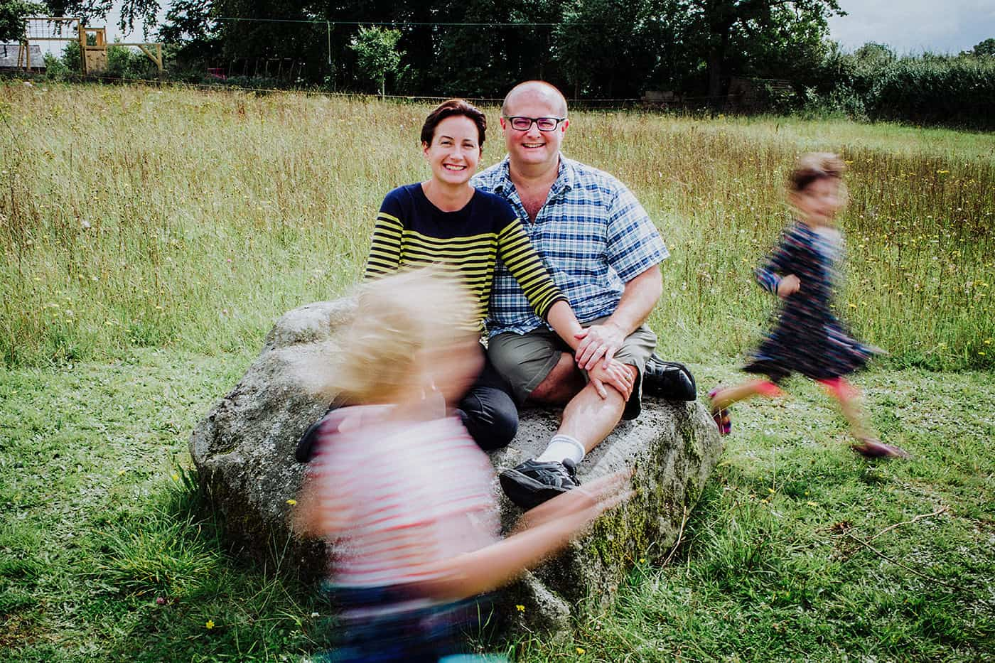 Fun family portrait in Oxfordshire