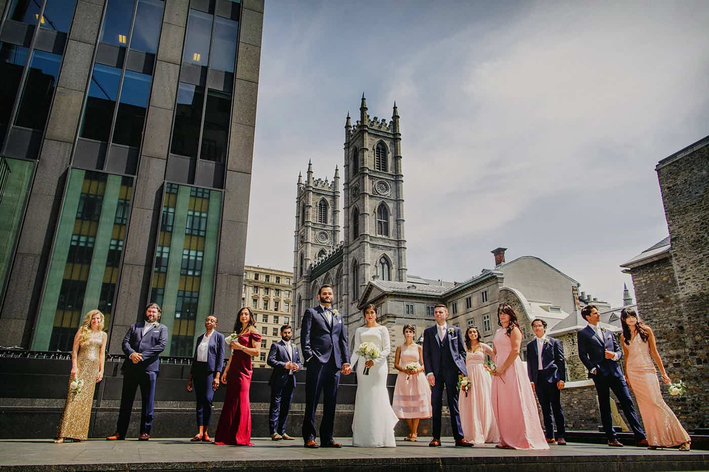 Bridal party in front of Montreal Notre Dame Basilica